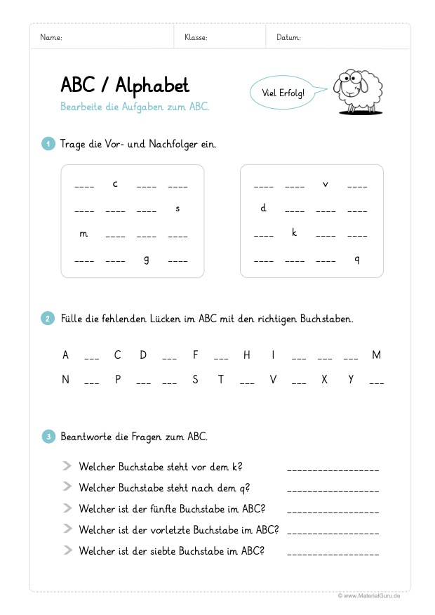 ABC / Alphabet lernen - MaterialGuru