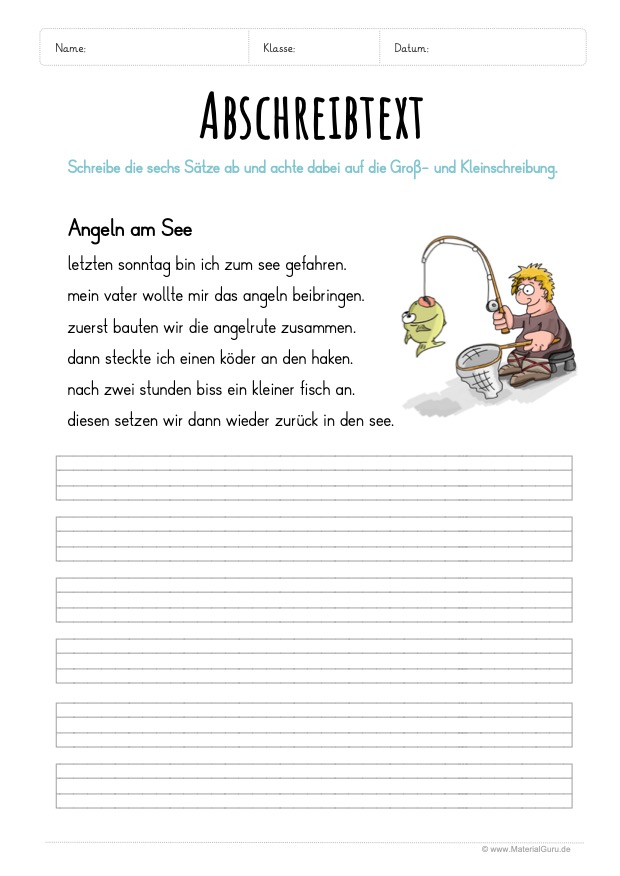 Arbeitsblatt: Text abschreiben - Angeln am See