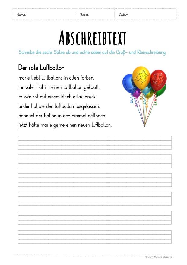 Arbeitsblatt: Text abschreiben - Der rote Luftballon