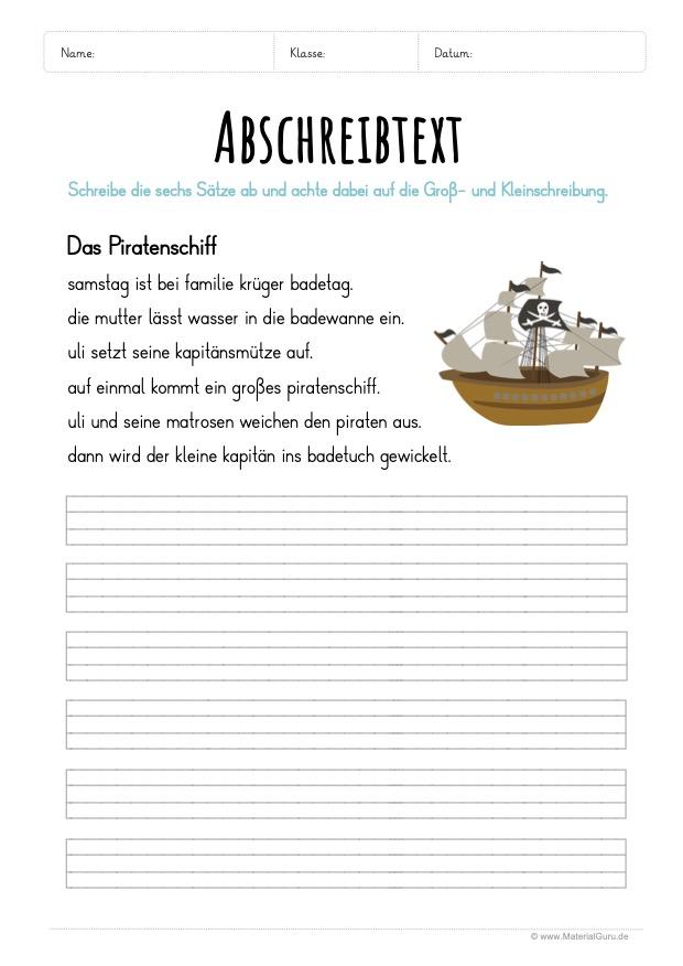 Arbeitsblatt: Text abschreiben - Piratenschiff