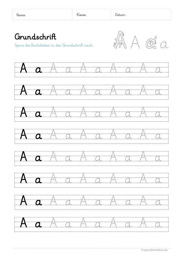Arbeitsblatt: Grundschrift - Buchstabe A (Buchstabenmix)