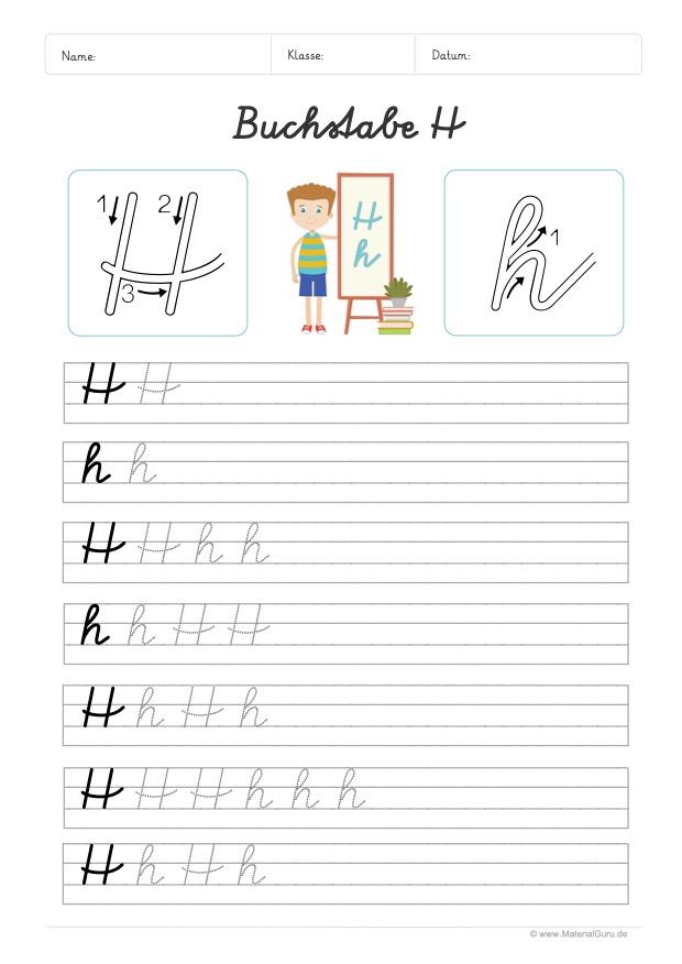 Arbeitsblatt: Buchstabe H (Schreibschrift) - H und h auf Linien schreiben