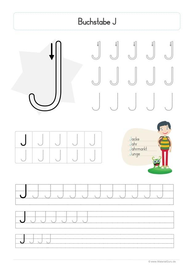 Arbeitsblatt: Buchstabe J (Druckschrift) - Großbuchstabe J