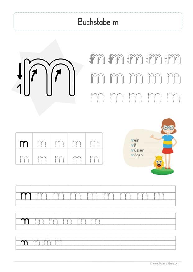 Arbeitsblatt: Buchstabe M (Druckschrift) - Kleinbuchstabe m