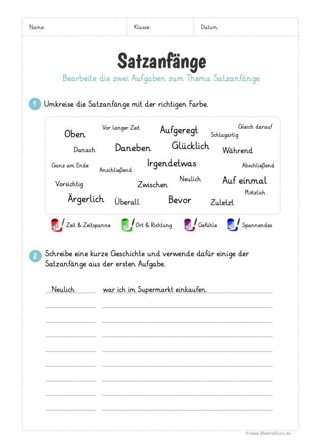 Arbeitsblatt: Satzanfänge zuordnen und Texte schreiben