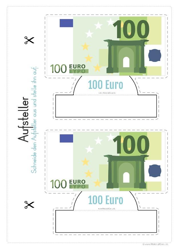 Arbeitsblatt: Geld Aufsteller - 100 Euro