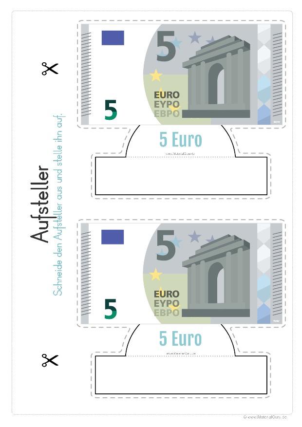 Arbeitsblatt: Geld Aufsteller - 5 Euro