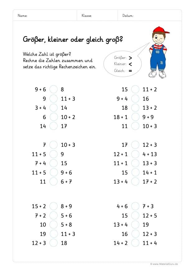 Arbeitsblatt: Größer & Kleiner - Zahlenraum 20 - Addieren