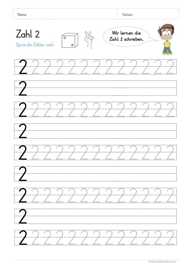Arbeitsblatt: Zahl 2 schreiben lernen auf Linien