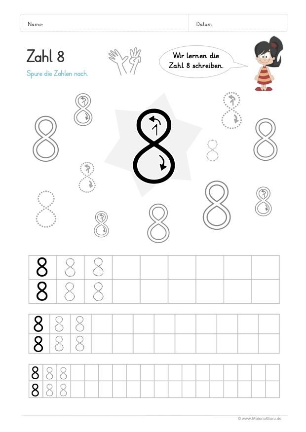 Arbeitsblatt: Zahl 8 schreiben lernen - Verschiedene Größen