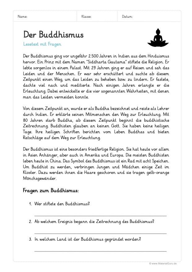 Arbeitsblatt: Lesetext Buddhismus (mit Fragen)