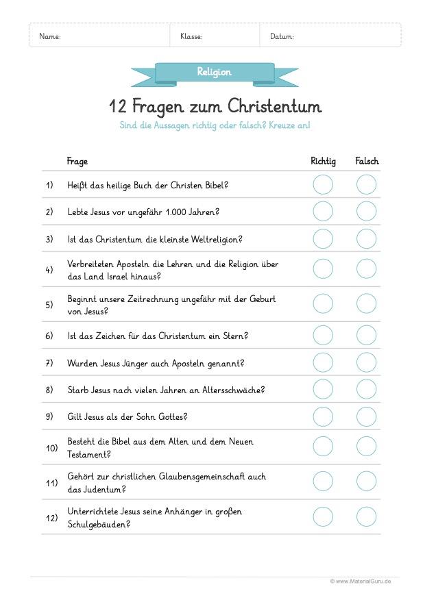 Arbeitsblatt Christentum: 12 Fragen mit richtig oder falsch beantworten