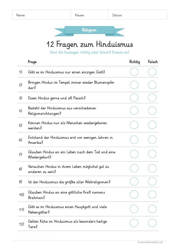 Arbeitsblatt Hinduismus: 12 Fragen mit richtig oder falsch beantworten