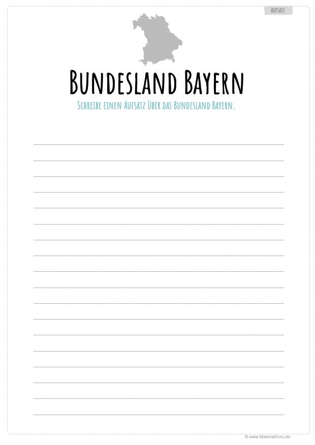 Arbeitsblatt: Aufsatz über das Bundesland Bayern schreiben