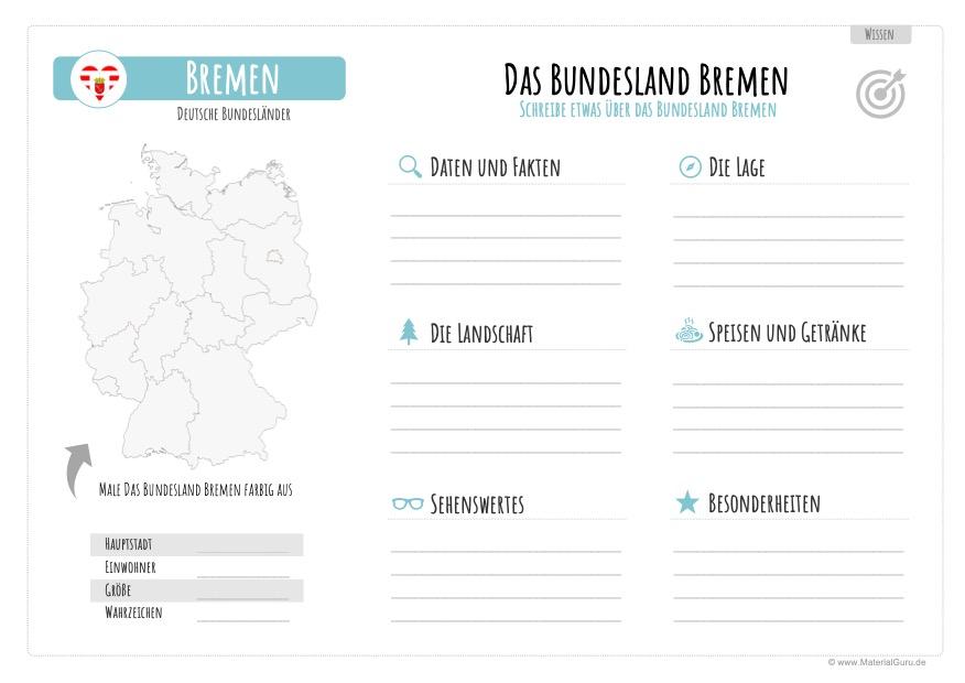 Arbeitsblatt: Informationen über Bremen aufschreiben