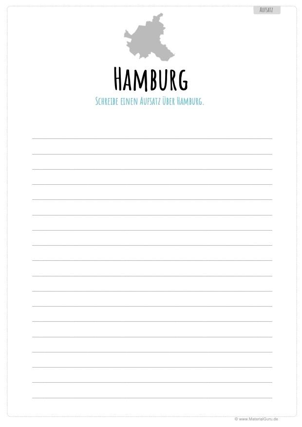 Arbeitsblatt: Aufsatz über Hamburg schreiben