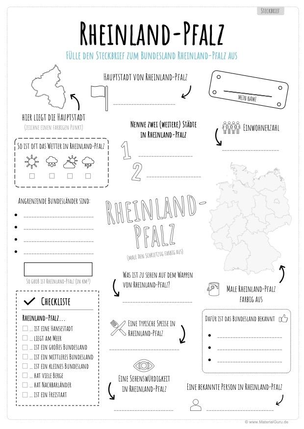 Arbeitsblatt: Steckbrief Rheinland-Pfalz