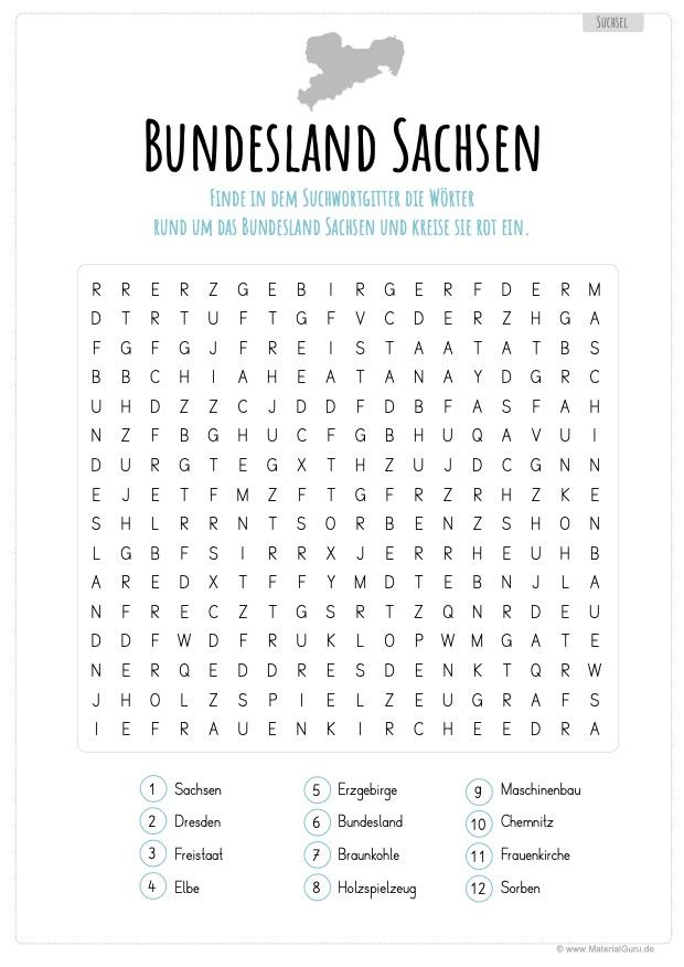 Arbeitsblatt: Suchsel zum Bundesland Sachsen
