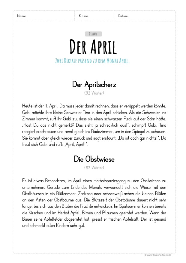Arbeitsblatt: April Diktate