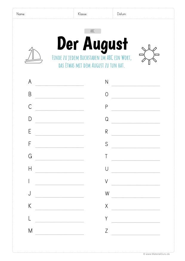 Arbeitsblatt: August ABC