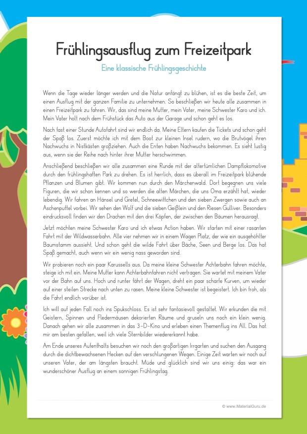 Arbeitsblatt: Eine klassische Frühlingsgeschichte: Frühlingsausflug zum Freizeitpark