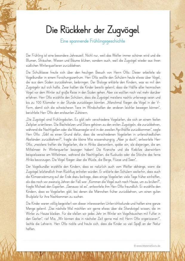 Arbeitsblatt: Eine spannende Frühlingsgeschichte: Die Rückkehr der Zugvögel