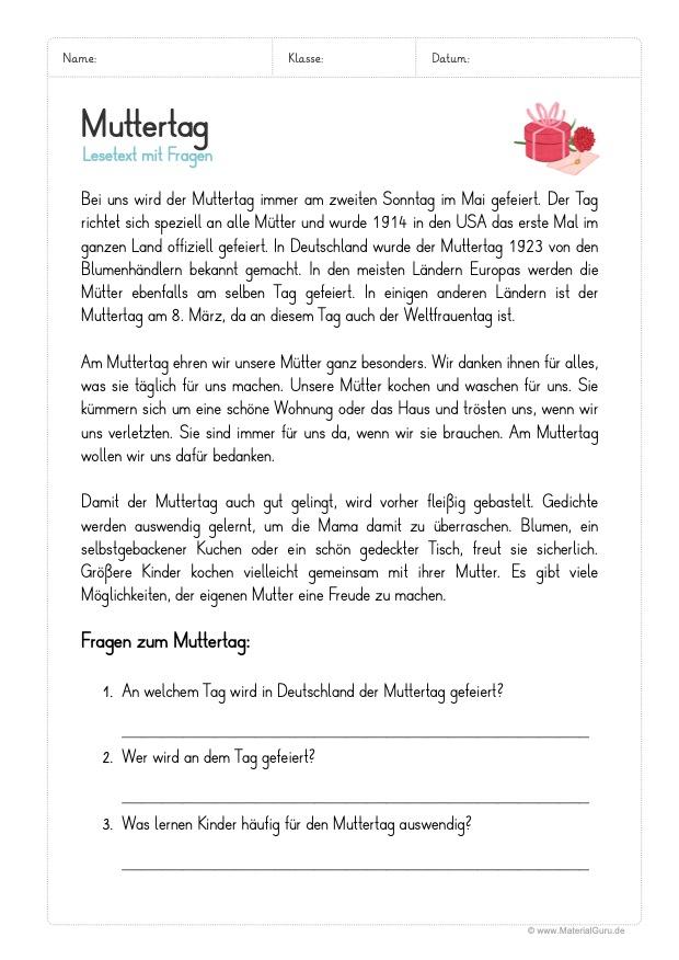 Arbeitsblatt: Lesetext zum Muttertag (mit 3 Fragen)
